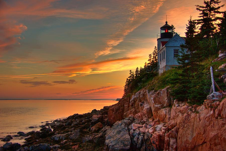 Lighthouse Photograph - Bass Harbor Sunset by Norm Hoekstra