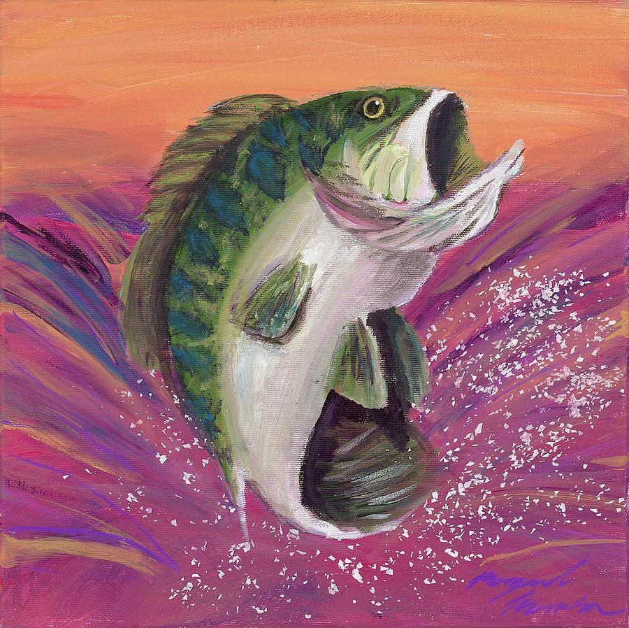 Bass painting by maggie morrison for Bass fish painting