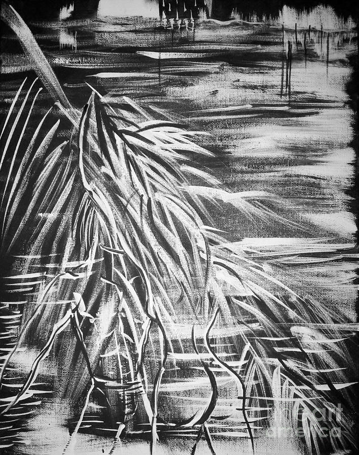 Black And White Painting - Bass On The Beach by Adriana Garces