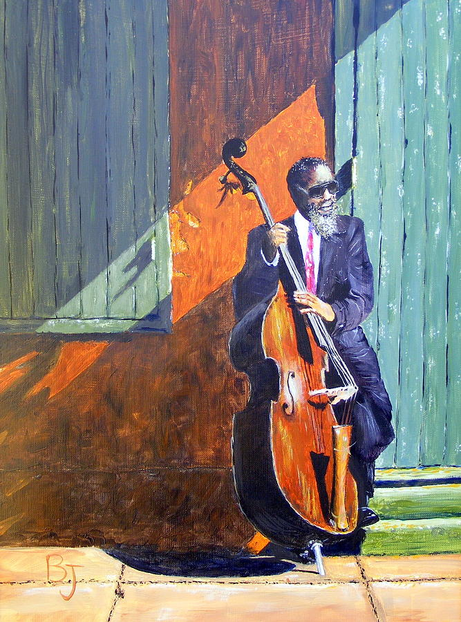 Jazz Painting - Bass Player In New Orleans by Barbara Jacquin