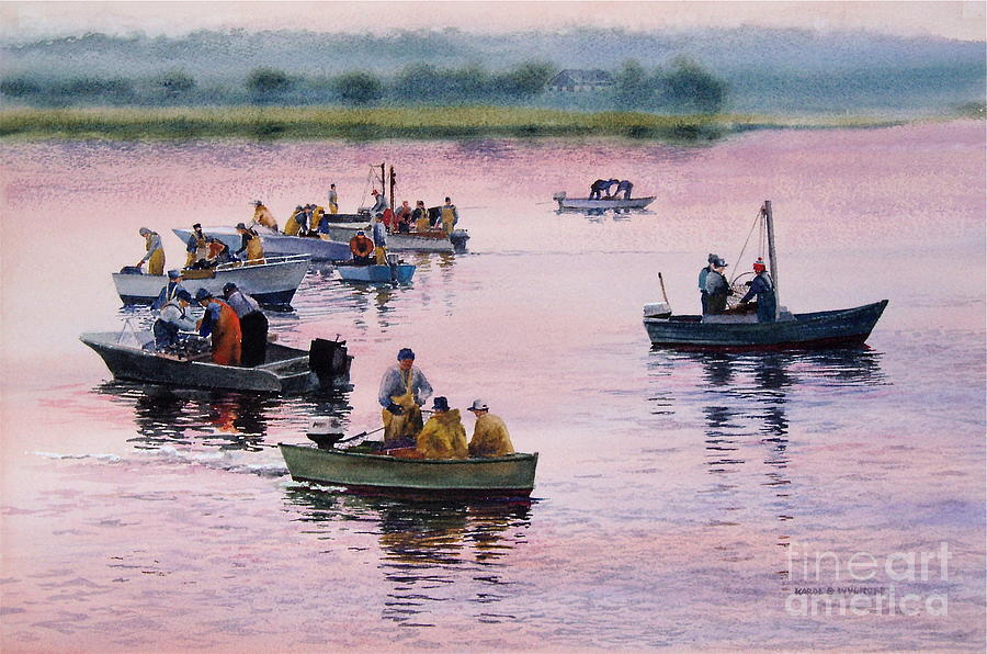 Boats Painting - Bass River Scallopers by Karol Wyckoff