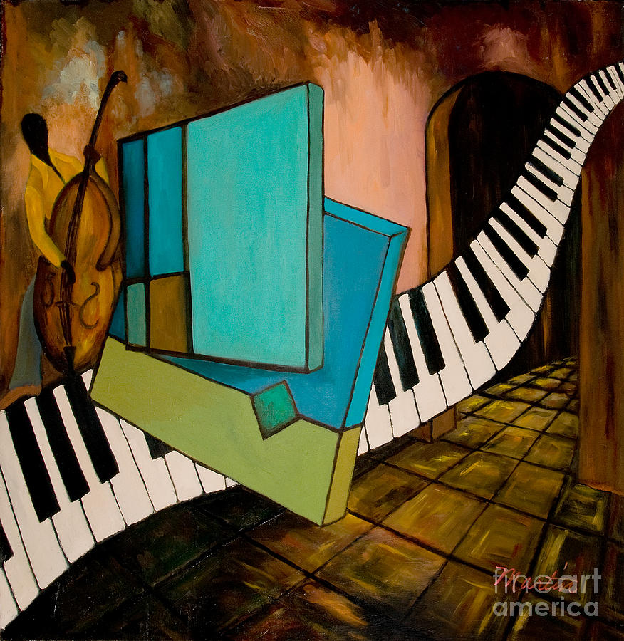 Jazz Painting - Bass Solo by Larry Martin