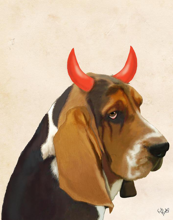 Dog Framed Prints Digital Art - Basset Hound With Devil Horns by Kelly McLaughlan