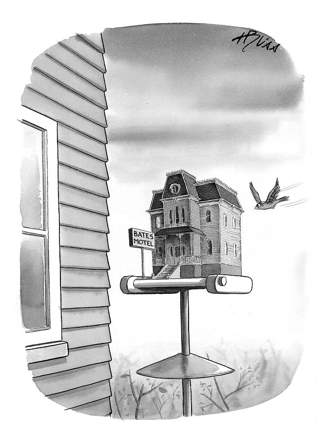 Bates Motel Birdhouse Drawing by Harry Bliss