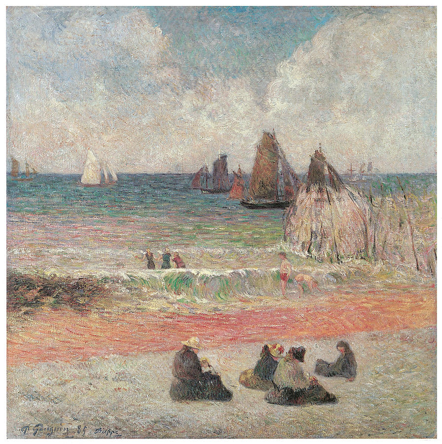 Paul Gauguin Painting - Bathers At Dieppe by Paul Gauguin