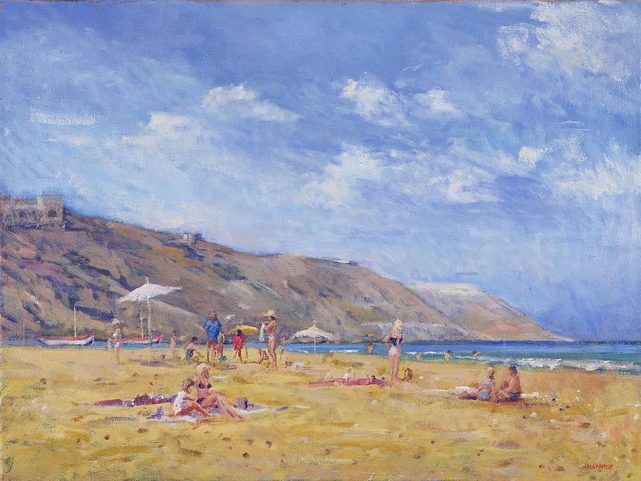 Coast Painting - Bathers, Gozo  by Christopher Glanville
