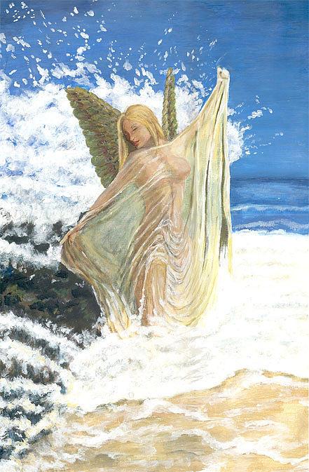Bathing Angel Painting by Anneke Hut