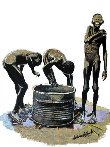 Africa Painting - Bathing Boys by Andre Ajibade