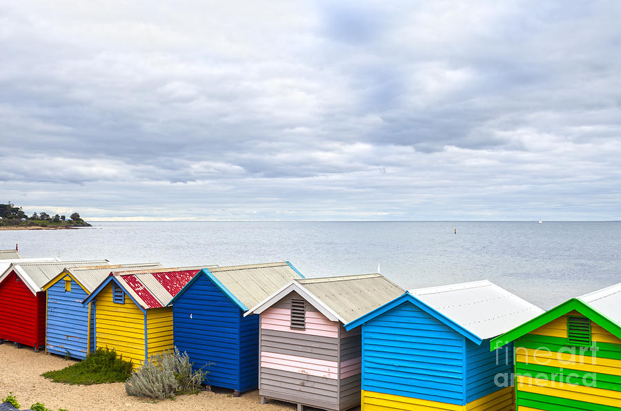 Australia Photograph - Bathing Huts Brighton Beach Melbourne Australia by Colin and Linda McKie