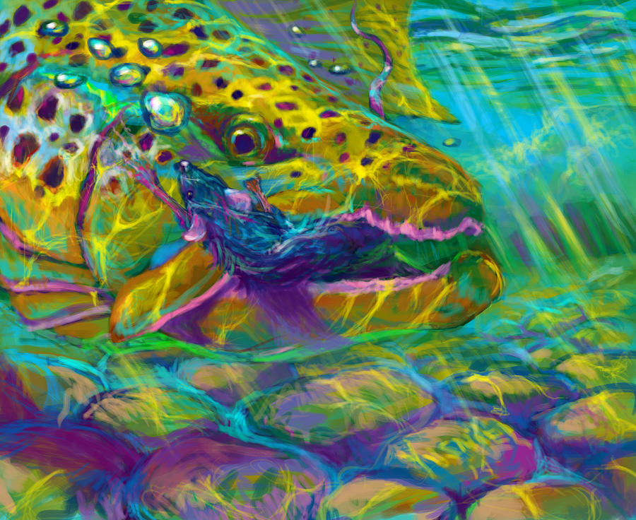 Brown Trout Digital Art - Bathing The Mouse  by Yusniel Santos