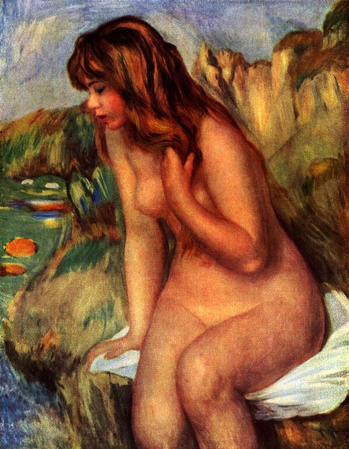 Bathing Woman Painting By Pierre Auguste Renoir