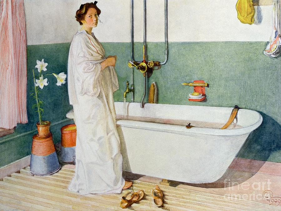 Bathroom Scene Lisbeth Painting by Carl Larsson