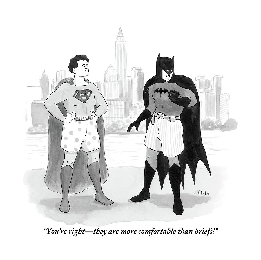 Batman And Superman Stand In Boxers Drawing by Emily Flake