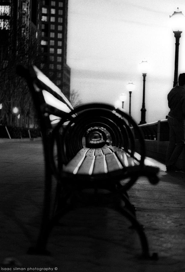 Black And White Film Photograph - Battery Park Bench by Isaac Silman