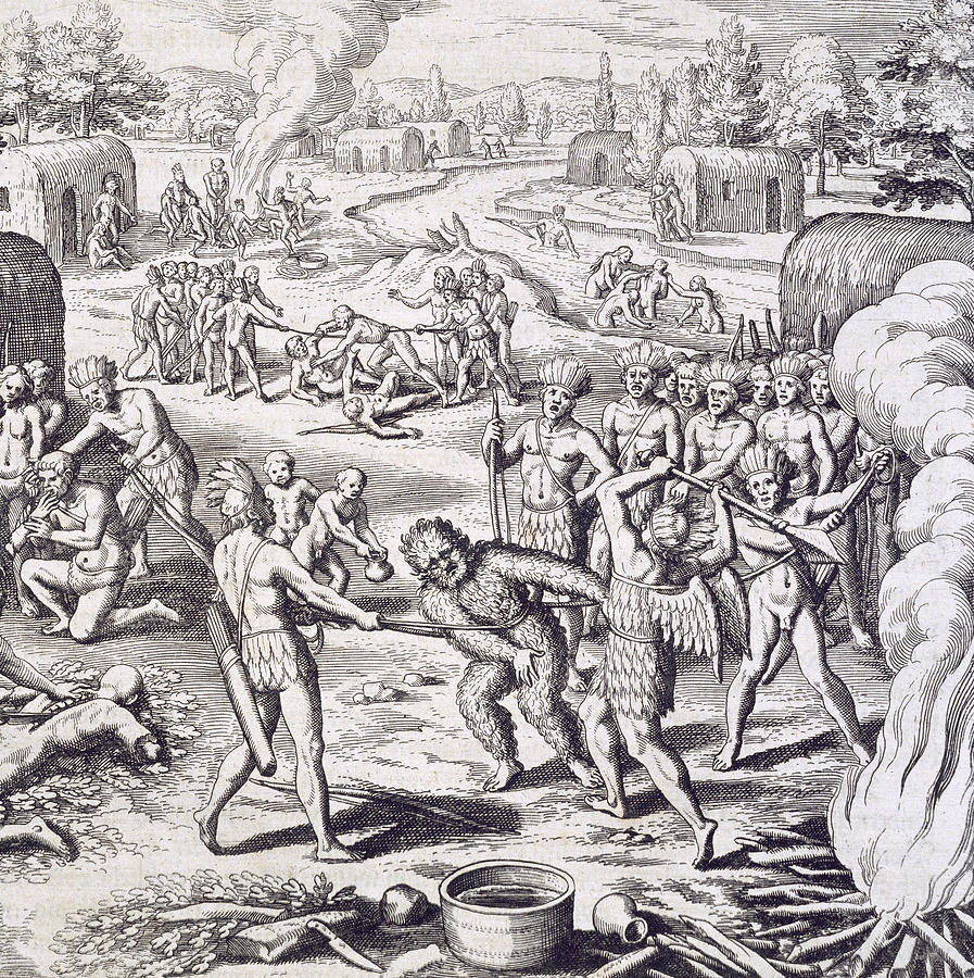 Theodore De Bry Painting - Battle Between Tuppin Tribes by Theodore De Bry