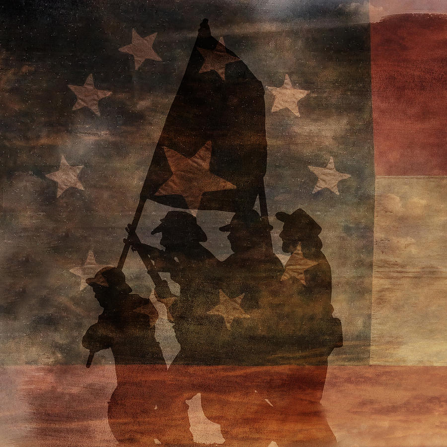 Shadow Digital Art - Battle Flag Silhouette 1st Of Three by Randy Steele