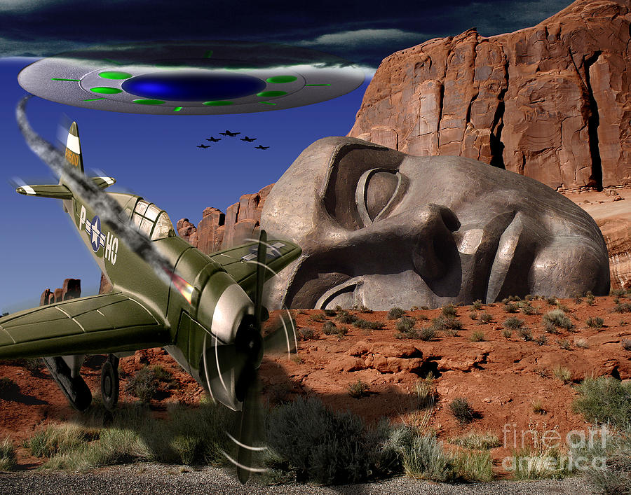 Ufo Digital Art - Battle For The Ancient Face by Keith Dillon