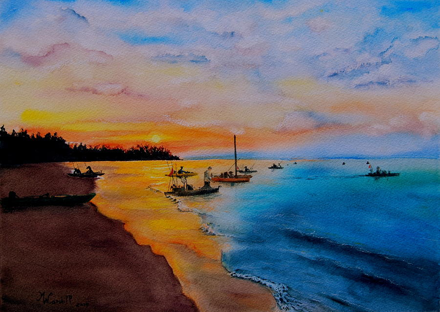 Seascape Painting - Battle In The Bahamas by Martine Wardill