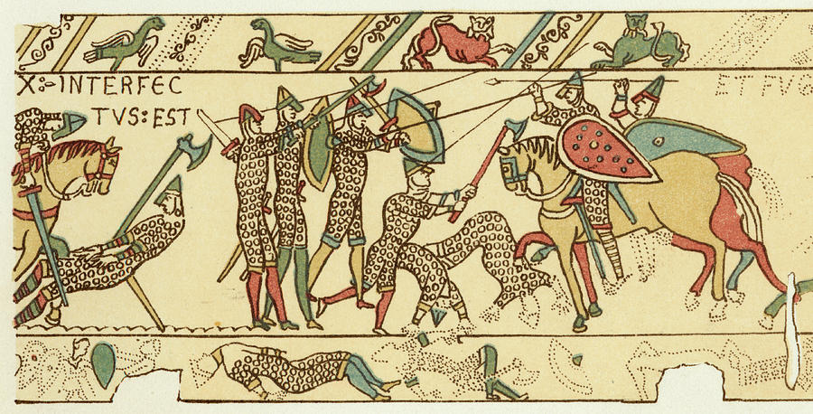 Norman Drawing - Battle Of Hastings The Battle Rages by Mary Evans Picture Library