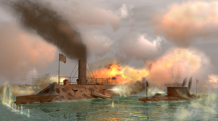 Civil War Digital Art - Battle of the Ironclads by Walter Colvin