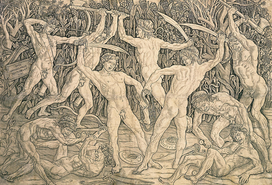 Pollaiuolo Drawing - Battle Of The Nudes by Antonio Pollaiuolo