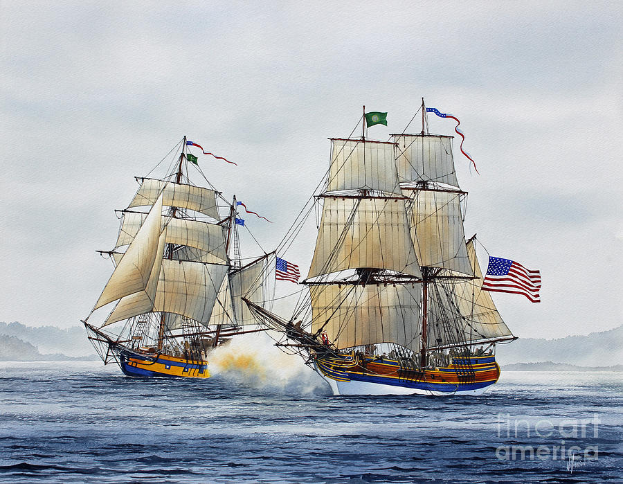 Tall Ship Painting - Battle Sail by James Williamson