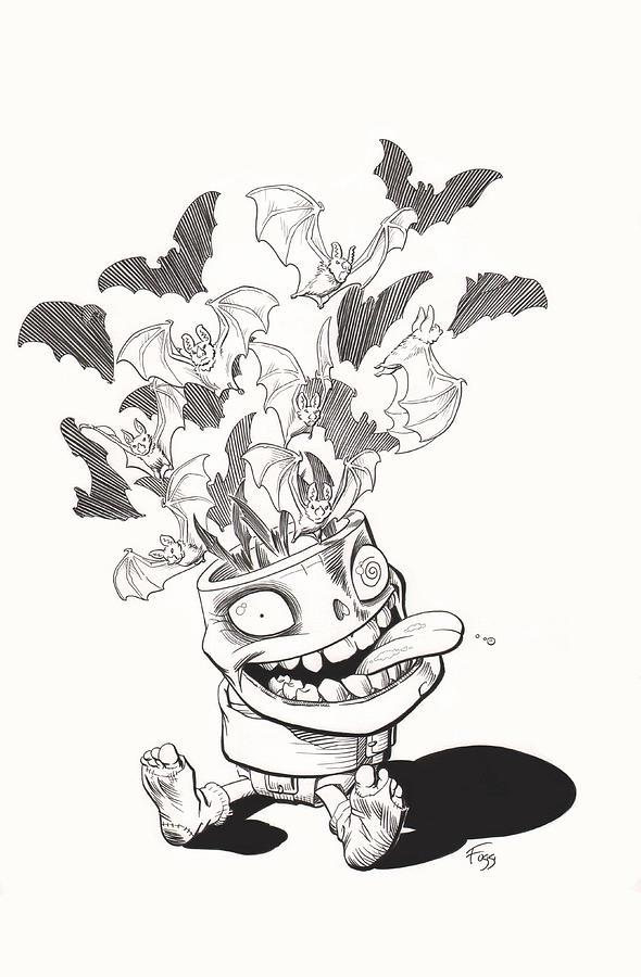 Batty Drawing - Batty by Richard Moore