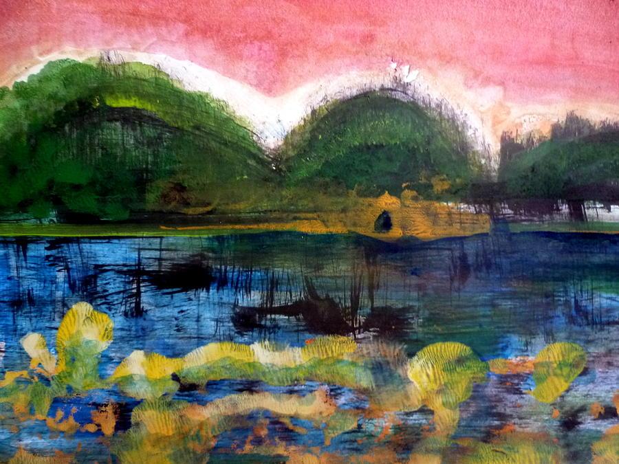 Acrylic Painting - Bay Blues 025 by Aquira Kusume