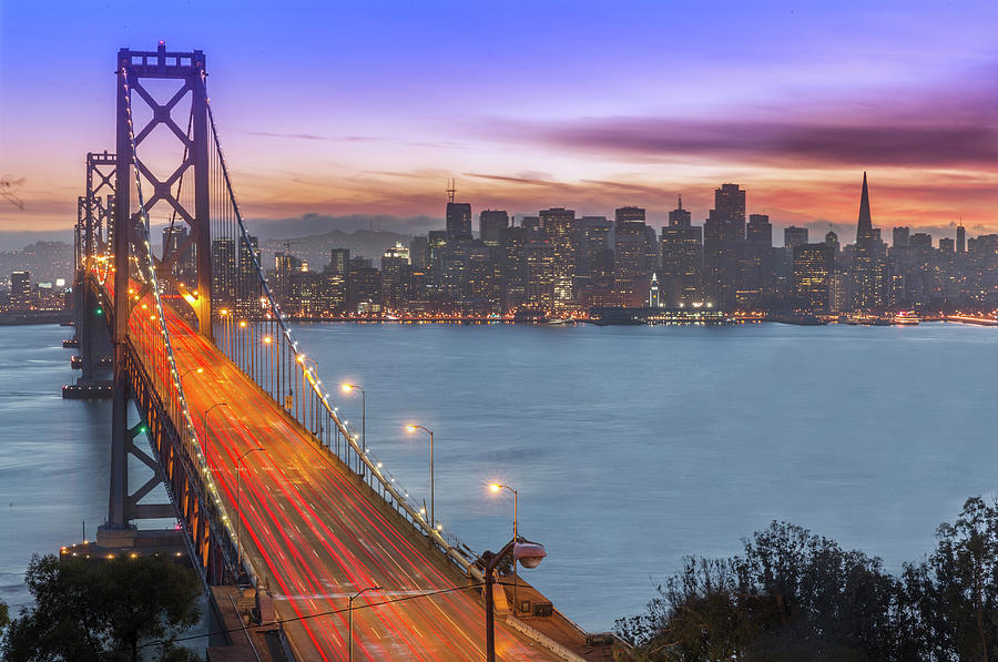Bay Bridge And San Francisco Skyline At Photograph by Spondylolithesis