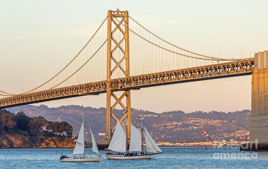 Bay Bridge Photograph - Bay Bridge Gold by Kate Brown
