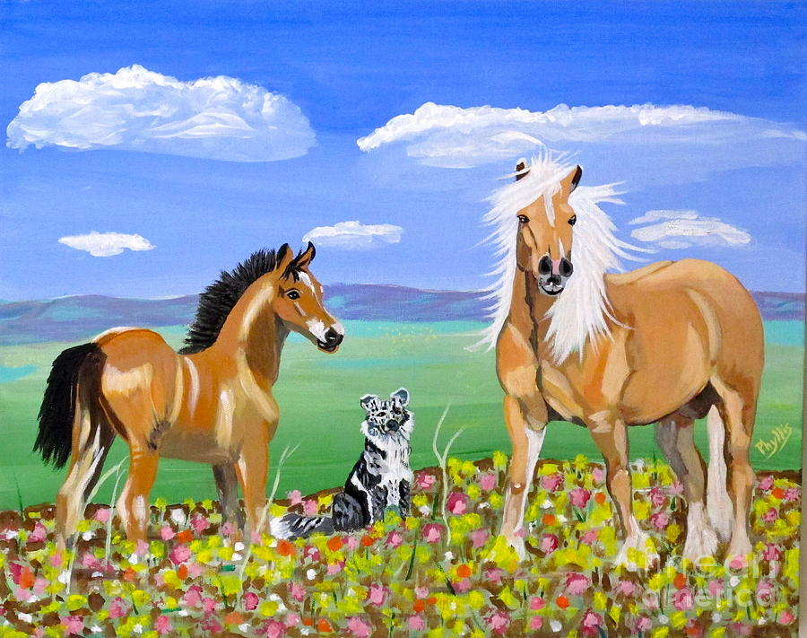 Blue Sky Painting - Bay Colt Golden Palomino And Pal by Phyllis Kaltenbach