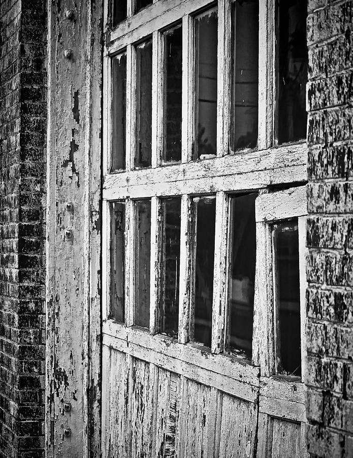 Brick Photograph - Bay Door In B/w by Greg Jackson