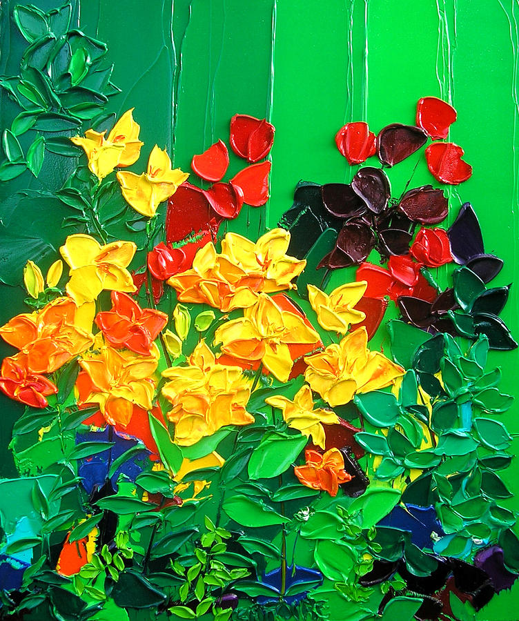 Bay Garden Lilies Painting by Valerie Catoire