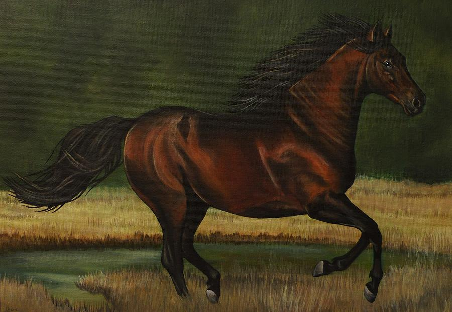 Horse Painting - Dark Horse by Lucy Deane