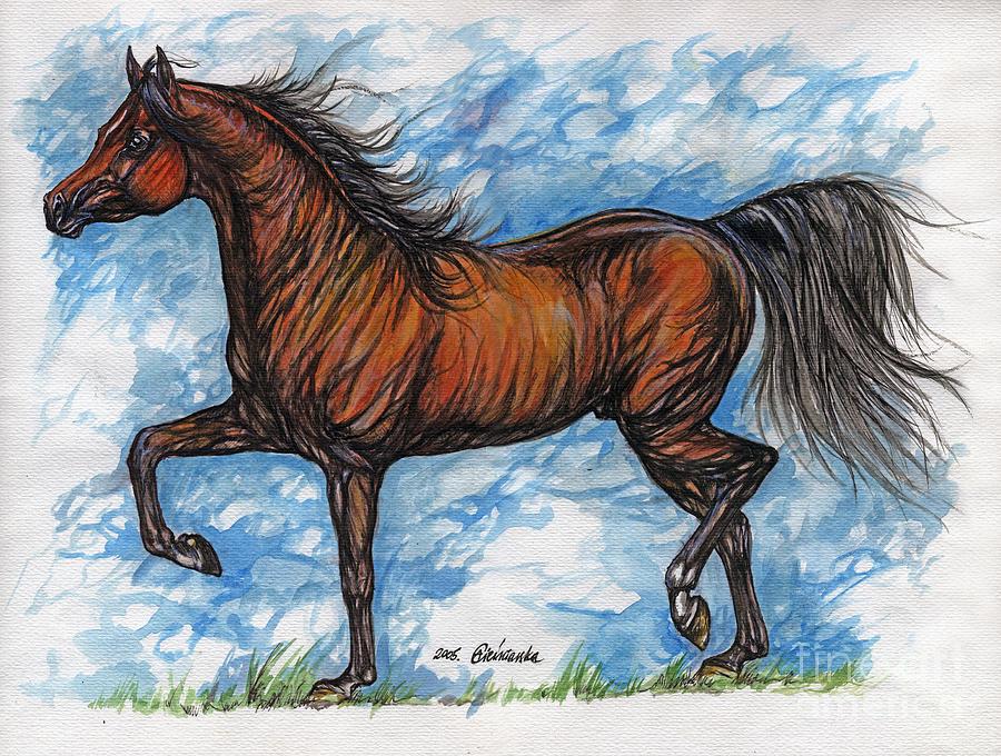 Psychodelic Painting - Bay Horse Running by Angel  Tarantella