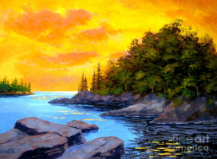 Seascape Painting - Bay  Inlet by Shasta Eone