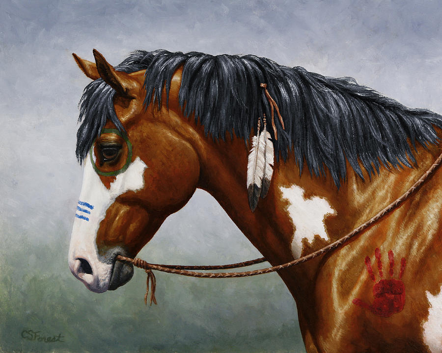 Horse Painting - Bay Native American War Horse by Crista Forest