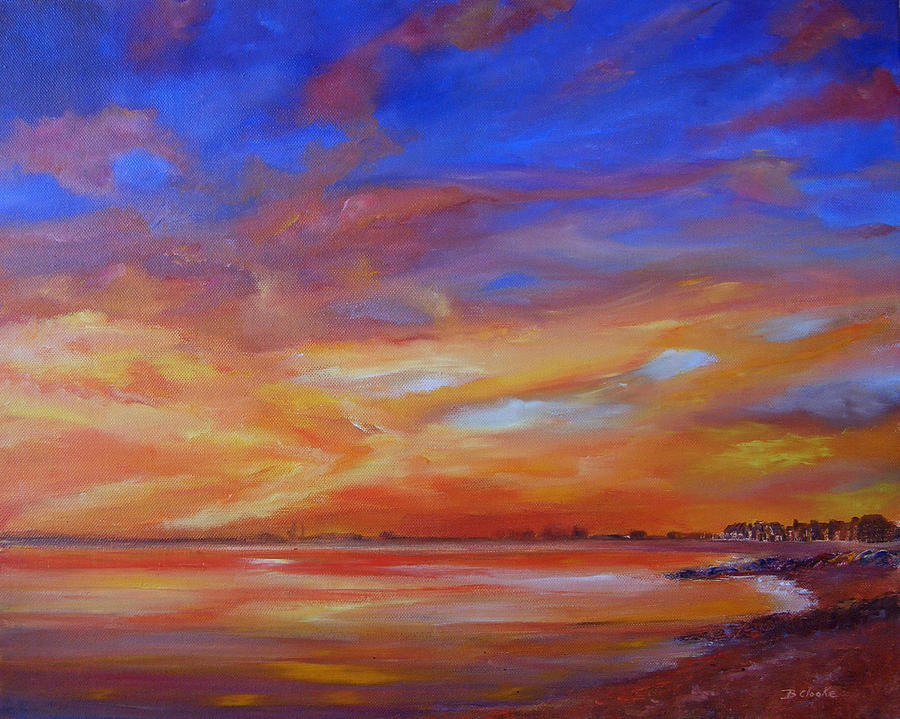 Red Sky Painting - Bay Of Hythe On Fire by Beatrice Cloake