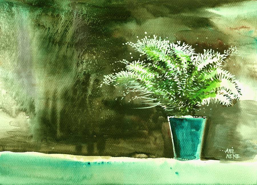 Nature Painting - Bay Window Plant by Anil Nene