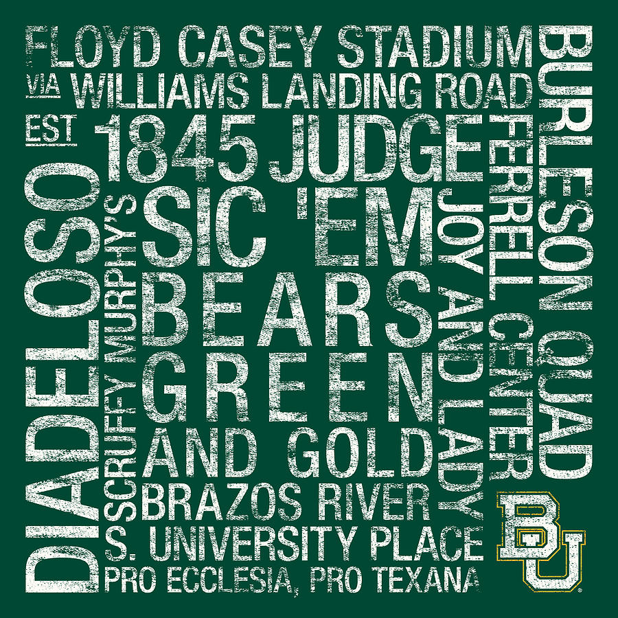 Photo Photograph - Baylor College Colors Subway Art by Replay Photos