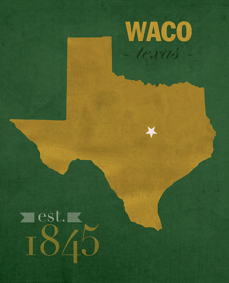 Baylor University Mixed Media - Baylor University Bears Waco Texas College Town State Map Poster Series No 018 by Design Turnpike