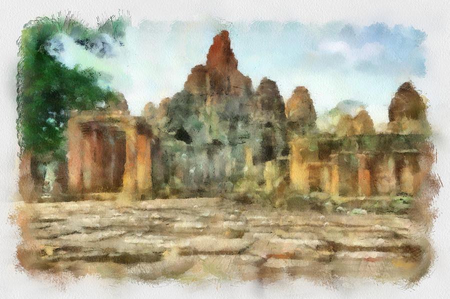 Bayon Temple Painting - Bayon Temple by Teara Na