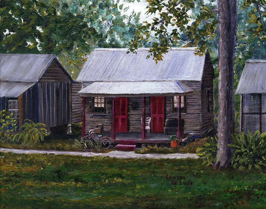 Bayou Cabins Art Breaux Bridge Louisiana by Lenora  De Lude