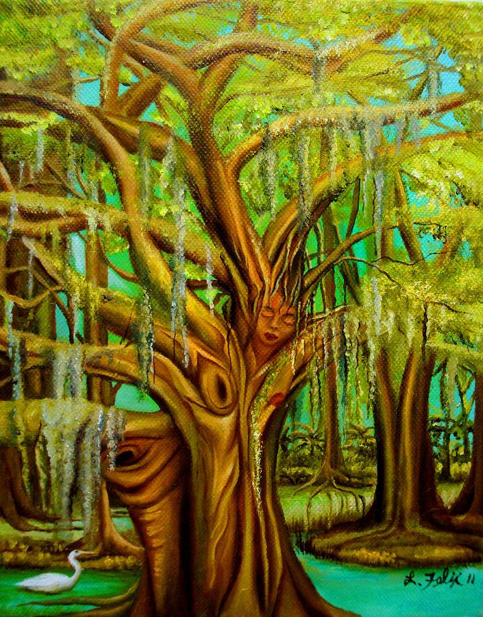Tree People Painting - Bayou Delight by Lori Felix