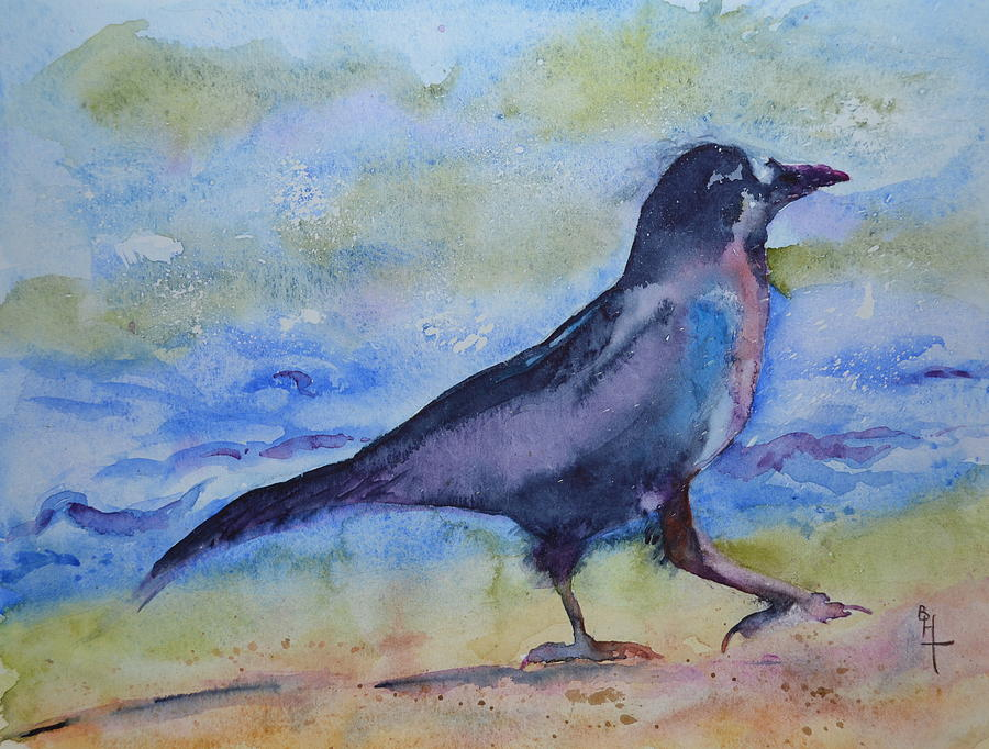 Crow Painting - Bayside Strut by Beverley Harper Tinsley