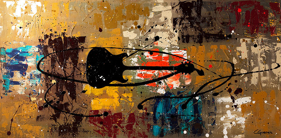 Music Abstract Art Painting - Be A Rock Star by Carmen Guedez