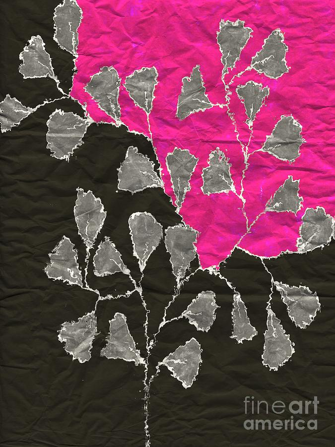 Leaves Digital Art - Be-leaf - Pink 03-01at4 by Variance Collections