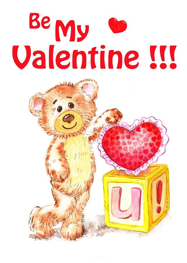 Teddy Painting - Be My Valentine Teddy Bear by Irina Sztukowski