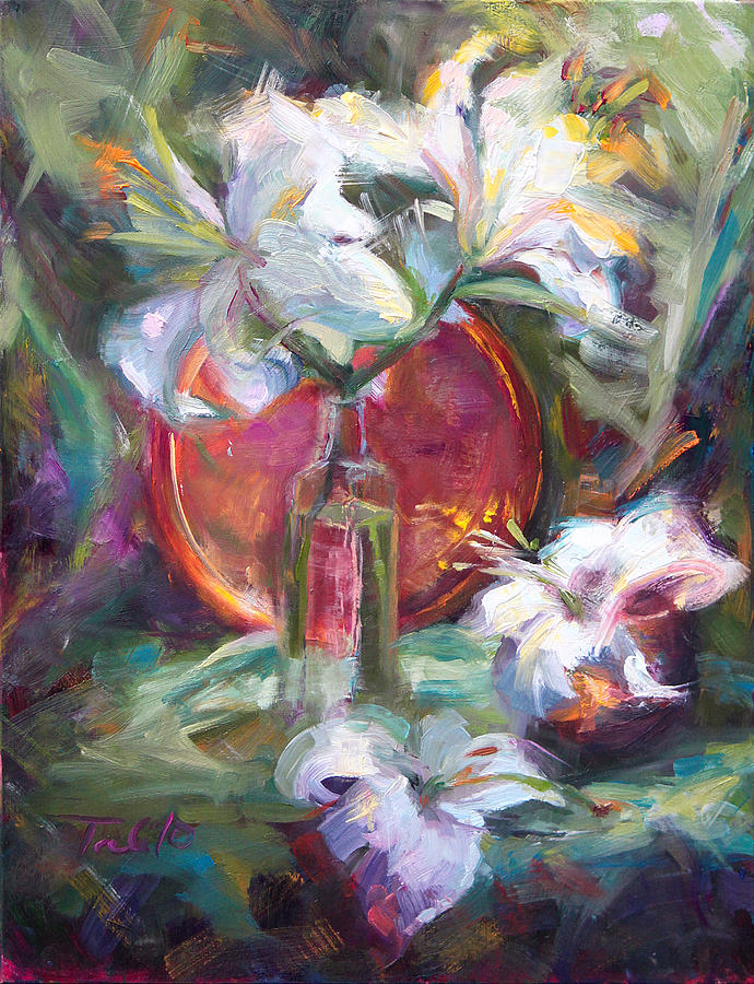 Casablanca Painting - Be Still - Casablanca Lilies With Copper by Talya Johnson