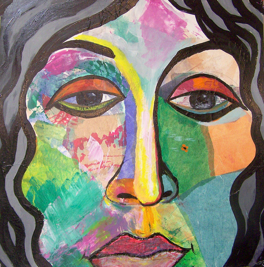 Collage Painting - Beaatrice by MtnWoman Silver